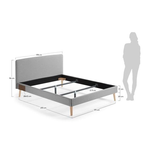 Szare łóżko 2-osobowe La Forma Lydia, 200x160cm