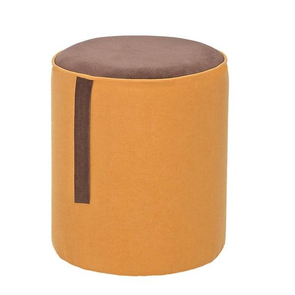 Okrągły puf Ghia, żółty z brązowymi detalami