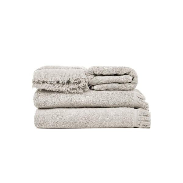 Zestaw 2 jasnoszarych ręczników kąpielowych i 2 ręczników Casa Di Bassi
