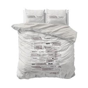 Szara jednoosobowa pościel z mikroperkalu Sleeptime Lovely Things, 160x200 cm
