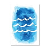 Plakat Watercolor Blue Waves