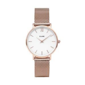 Zegarek damski ze stali nierdzewnej w kolorze różowego złota Cluse Minuit