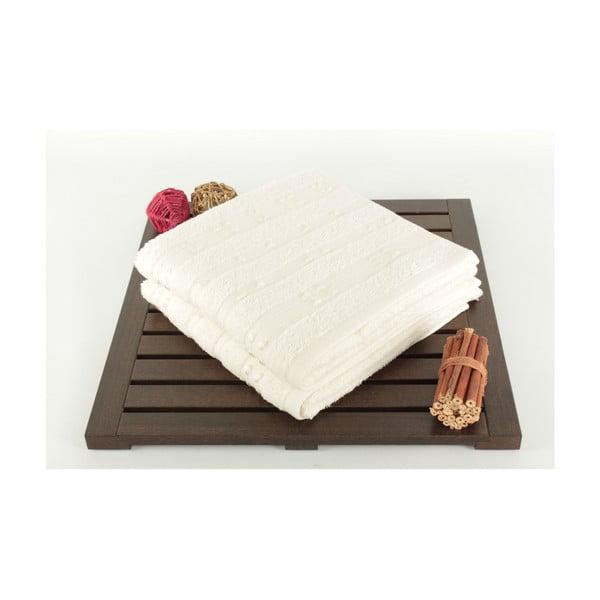 Zestaw 2 kremowych ręczników Patlac, 50x90cm