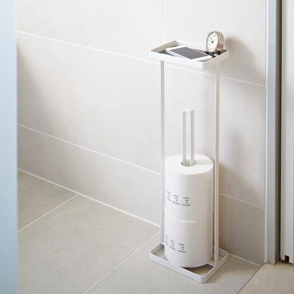 Biały stojak na papier toaletowy z półeczką YAMAZAKI Tower