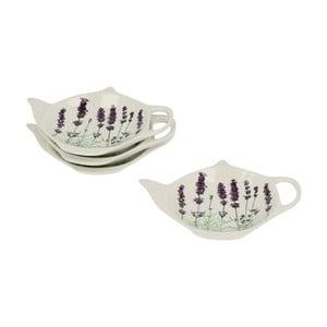 Zestaw 4 porcelanowych podstawek na woreczki od herbaty Duo Gift Lavender