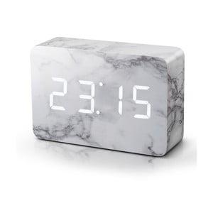 Marmurowy budzik z białym wyświetlaczem LED Gingko Brick Marble Click Clock