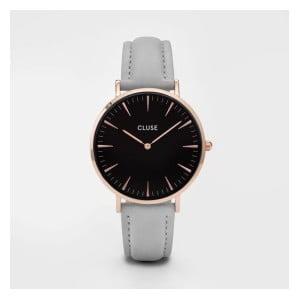 Zegarek damski z szarym skórzanym paskiem i detalami w kolorze różowego złota Cluse La Bohéme
