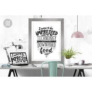 Plakat Impressed With Technology BW, A2
