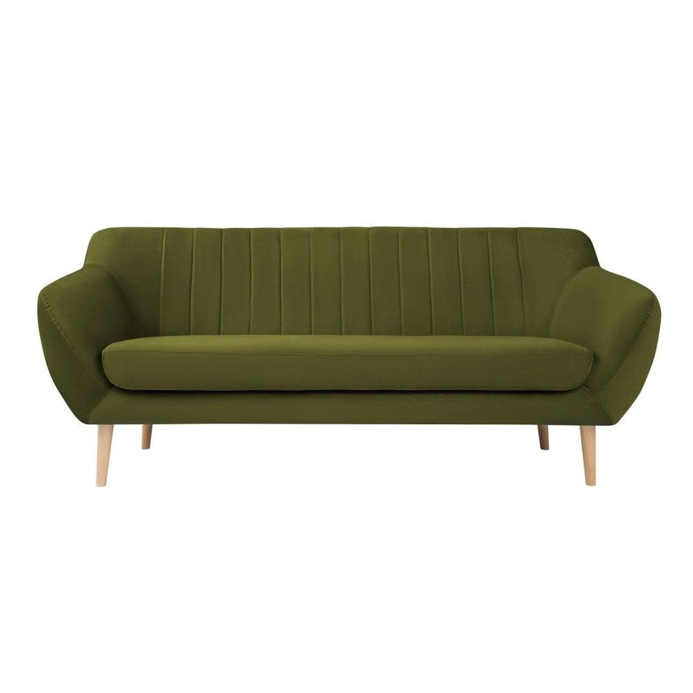 Zielona aksamitna sofa Mazzini Sofas Sardaigne, 188 cm