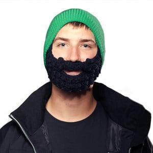 Zielona czapka z czarną brodą Beardo Attached