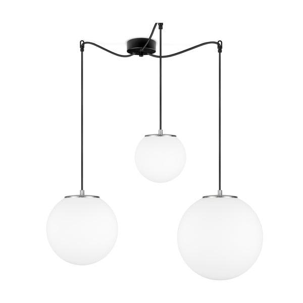 Biała lampa wisząca z 3 abażurami i oprawką w srebrnym kolorze Sotto Luce TSUKI