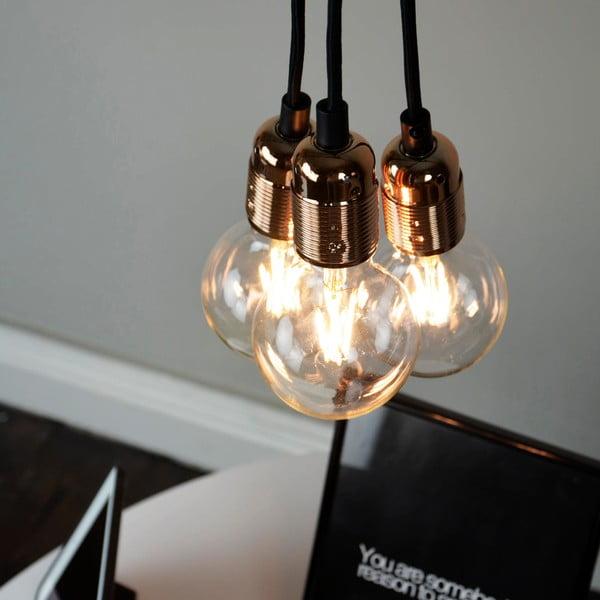 Lampa wisząca z 3 czarnymi kablami i oprawą żarówki w miedzianym kolorze Bulb Attack Uno Group