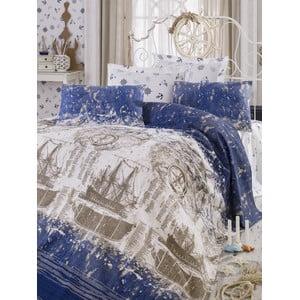Zestaw narzuty i poduszek Pusula Dark Blue, 200x235 cm