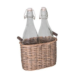 Komplet 2 butelek w koszyczku wiklinowym Antic Line