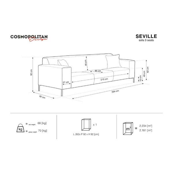Granatowociemnozielona sofa 3-osobowa Cosmopolitan Design Cartagena