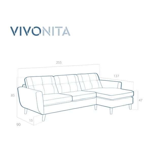 Brązowa sofa z szezlongiem po prawej stronie Vivonita Harlem