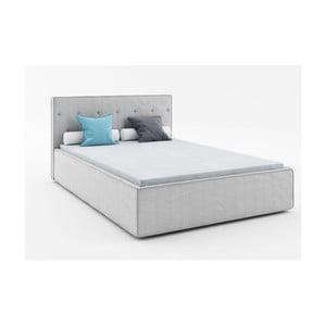 Jasnoszare łóżko 2-osobowe Absynth Mio Premium, 140x200 cm