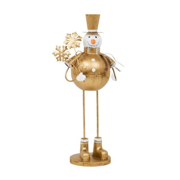 Dekoracja Archipelago Round Gold Snowman With Snowflake, 22 cm