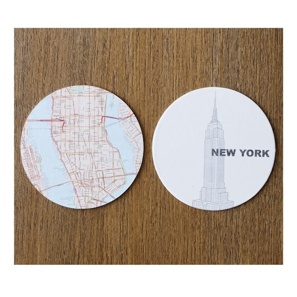 Komplet 10 podstawek Design Ideas MapCoasters New York