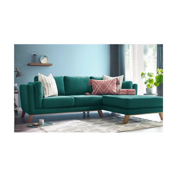 Turkusowa sofa z szezlongiem po prawej stronie Bobochic Paris Seattle