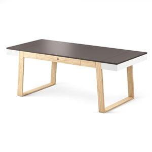 Stół dębowy z czarnym blatem i białymi szczegółami Absynth Magh, 198x100 cm