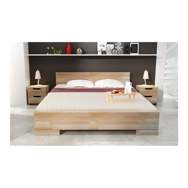 Łóżko 2-osobowe z drewna bukowego ze schowkiem SKANDICA Spectrum Maxi, 200x200 cm