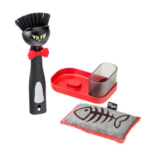 Czarny zestaw do mycia naczyń Vigar Felix ze szczotką i gąbką