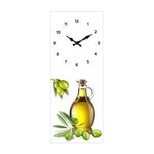 Szklany zegar Oliwki, 20x50 cm