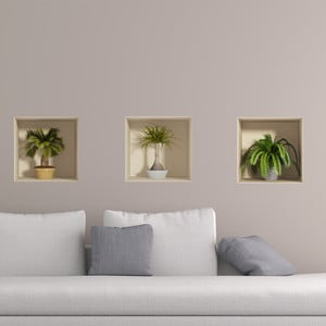 Zestaw 3 naklejek 3D Ambiance Palms