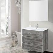 Szafka do łazienki z umywalką i lustrem Nayade, motyw vintage, 70 cm