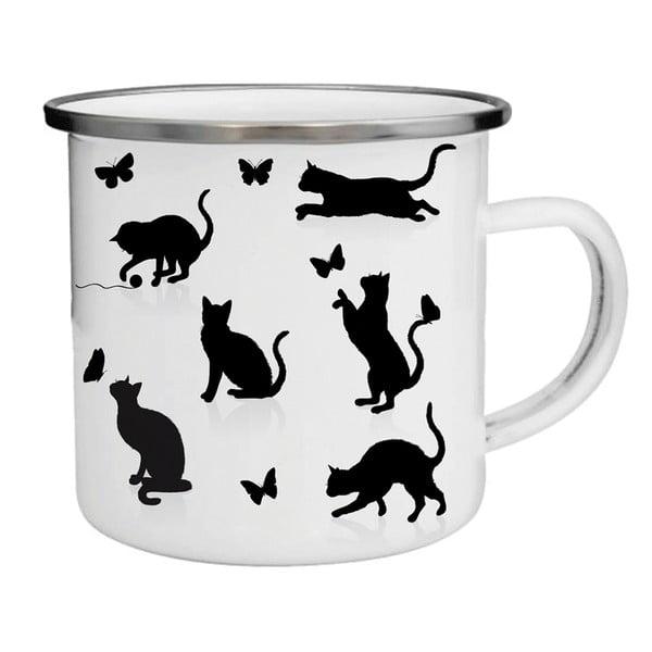 Kubek emaliowany w koty TinMan, 200 ml