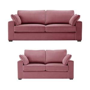 Dwuczęściowy komplet wypoczynkowy Jalouse Maison Serena, różowy