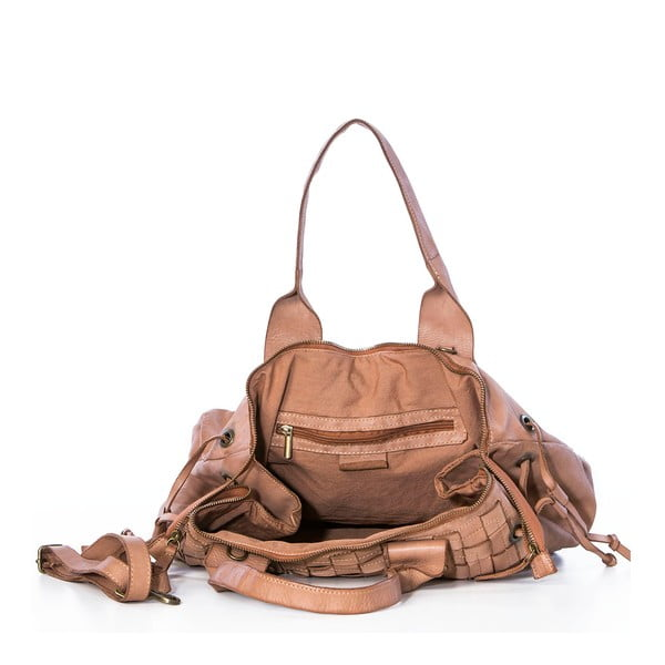 Skórzana torebka Federica Bassi Ginny, beżowa