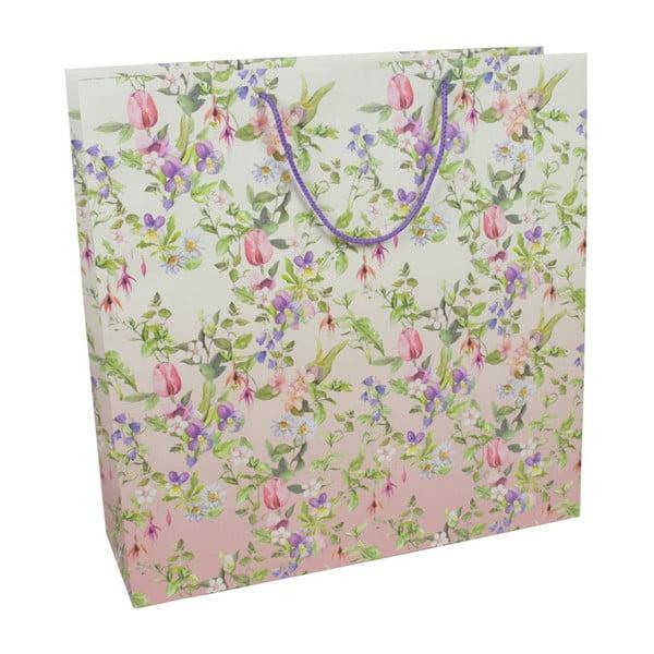 Zestaw 3 rolek papeiru prezentowego i 3 torebek prezentowych Charming Garden