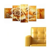 Pięcioczęściowy obraz Gold Rose