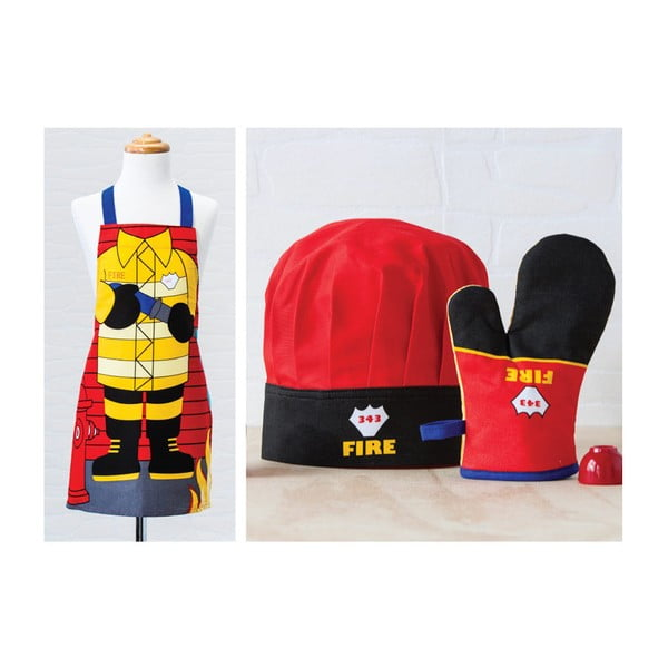 Zestaw dziecięcęgo fartucha, czepka oraz rękawicy kuchennej Fireman