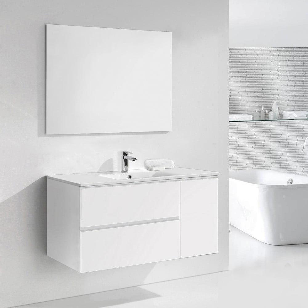 Szafka Do łazienki Z Umywalką I Lustrem Happy Odcień Bieli 120 Cm Bonami