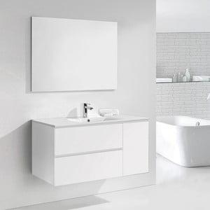 Szafka do łazienki z umywalką i lustrem Happy, odcień bieli, 120 cm