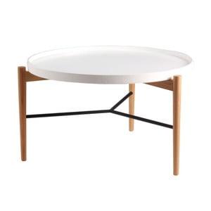 Biały stolik z naturalnymi nogami sømcasa Eric