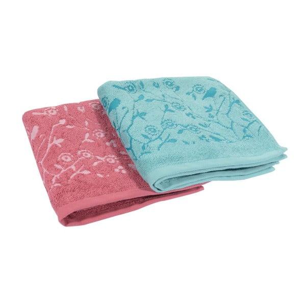 Komplet 2 ręczników Antenne Bleu-Cerise, 50x90 cm