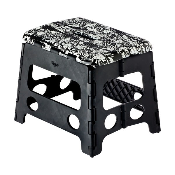 Czarny składany stołek Vigar Rococco, mały