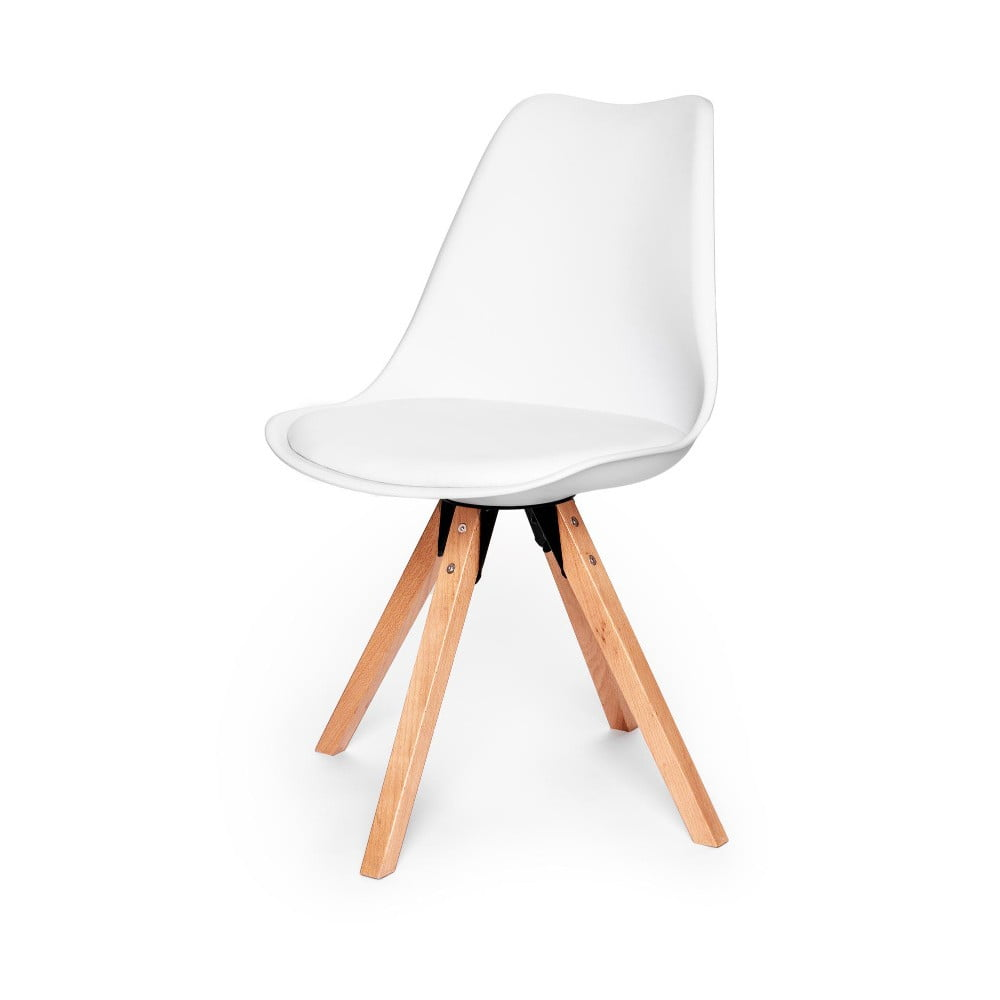 Zestaw 2 białych krzeseł z konstrukcją z drewna bukowego loomi.design Eco