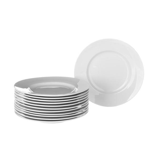 Zestaw 12 białych talerzy porcelanowych Unimasa Elegant, średnica26,7cm