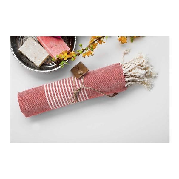 Ręcznik hammam Line Red, 100x180 cm