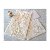Zestaw 3 beżowych dywaników łazienkowych Flowers