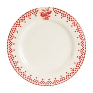 Czerwono-biały talerz Comptoir de Famille Damier, 27 cm