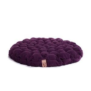 Fioletowa poduszka do siedzenia wypełniona piłeczkami do masażu Linda Vrňáková Bloom, Ø 75 cm