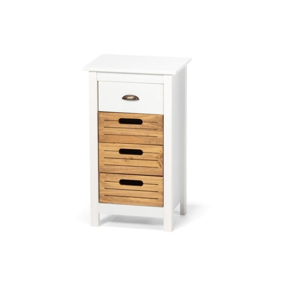 Biała szafka z drewna sosnowego z 4 szufladami loomi.design Ibiza