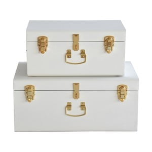 Zestaw 2 białych metalowych kufrów RGE Stella Matteus