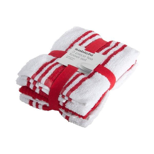 Zestaw 3 biało-czerwonych ścierek Sabichi
